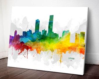 Omaha Skyline Canvas, Omaha Print,Omaha Decor, Omaha Gift, Omaha Wall Art, MMR-USNEOM05C