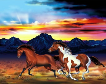Horse Painting (Framed Canvas)