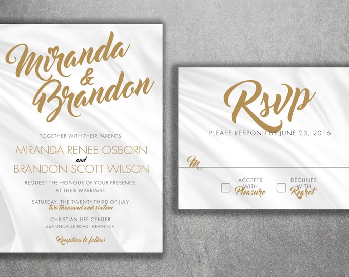 Cheap Wedding Invitation, Wedding Invitation, Classic Wedding Invitation, Gold and Silver Wedding Invitation, Rustic, Winter, Affordable