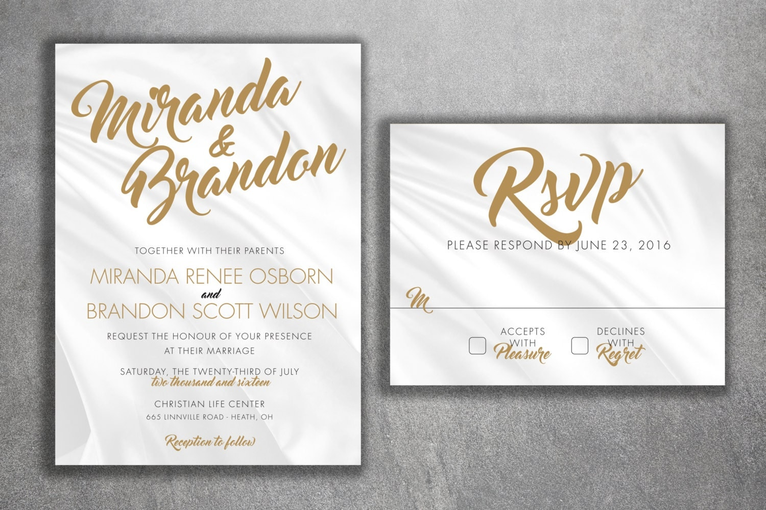 Discount Photo Wedding Invitations: Affordable Wedding Invitations Set Printed With RSVP Cheap