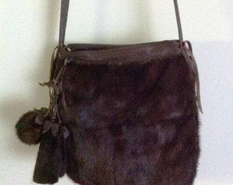 Crossbody bag, real mink fur and leather handbag, original and unique handmade bag, brown color, size - medium