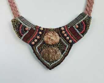 Handmade Bead Embroidered Necklace