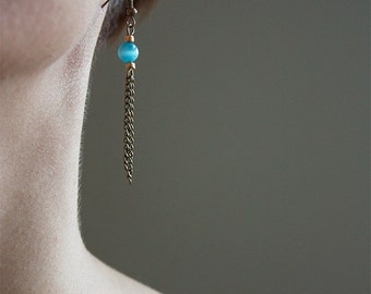 Bronze and blue earrings