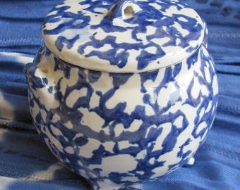 Vintage Spatterware Blue and White Lidded Pot