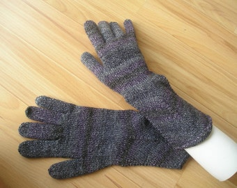 long elegant gloves, anthracite gloss