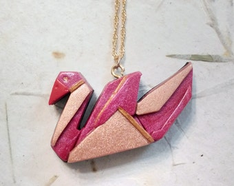 Pink origami swan nacklace from polymer clay