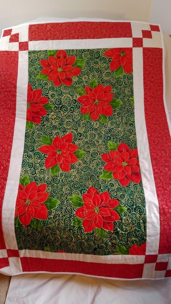 Christmas quilt handmade wall hanging poinsettia