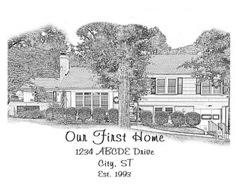 Home Portrait Sketch Digital File