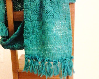 Teal hand knit scarf