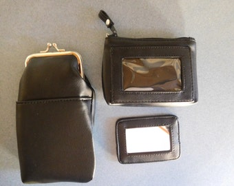 Avon Vintage, But Never Used, Black Classic Accessory Set: Eyeglass Case, Change Purse, and Mirror