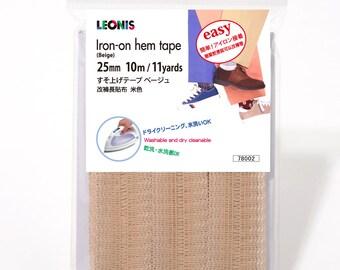 LEONIS Polyester Iron-On Hem Clothing Tape 1inch x 11yd (25mm x 10m) Beige [ 78002 ]
