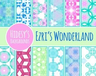 "Watercolor Digital Paper / Background / Pattern ""EZRI'S WONDERLAND"""