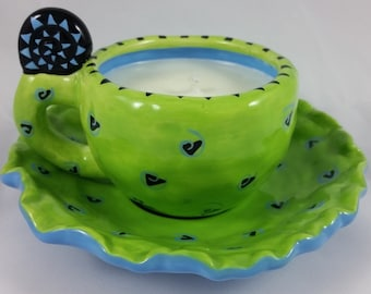 Tea Time Soy Candle Upcycled