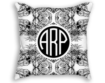 "Circle Monogram Custom Throw Pillow,  flowers Pattern, Decorative Pillow 18""x18"""