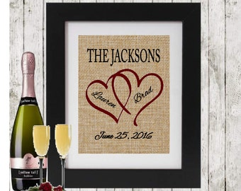 Personalized Wedding/Anniversary Gift for Couple - Hearts with Names and Wedding Date - Engagement/Shower Gift - Rustic Wedding Party Decor