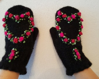 Hand Knitted Fingerless Mittens,fashion,Gift Ideas,Gloves&Mittens, For Her,Rose,Accessories,WoolHeart,