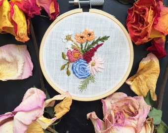 Floral embroidery | 3 inch hoop art