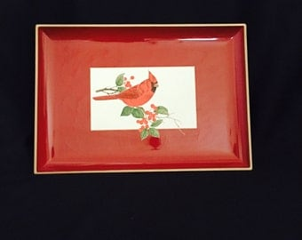Red Laquer Cardinal Tray