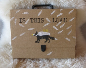 Hand illustrated briefcase inspired in medieval painting with a duck,a fox,white feathers  and the quote Is this love?