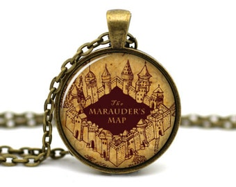 Marauders Map Necklace, Harry Potter Necklace, Book Jewelry, Harry Potter Jewelry, Book Necklace, Moony Wormtail Padfoot and Prongs