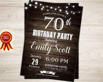 Surprise 70th birthday invitation. Rustic Wood. Man, Women. 40th 50th 60th Birthday Invite. Surprise birthday party invitation printable