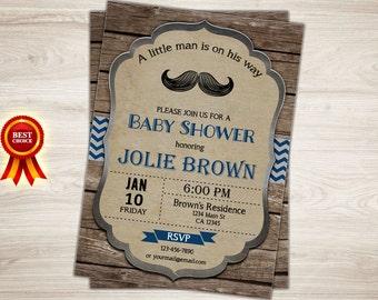 Mustache baby shower invitation. Boy Moustache baby shower invitation. Little Man Mustache Invitation. Printable Boy baby shower invitation