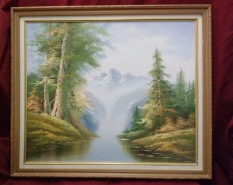 Vintage Oil painting on canvas landscape trees Mountains waterfall river