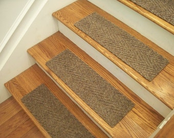 """Essential Carpet Stair Treads - Style Herringbone - Color Beige Gray - Size 24"""" x 8"""" - Sets of 4, 7, 13, or 15"""