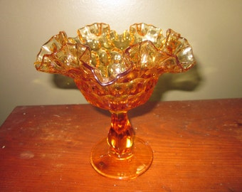 Fenton Thumbnail print rufled edge candy or compote pedestal bowl