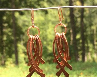 Pounded copper earrings, hammered earrings, copper wire earrings, copper jewelry