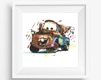 "Mater,cars film,Disney,pixar,digital watercolor, for children, Kids Room Decor,Nursery Decor,Baby Gift,Instant Download,8""x10"" 300 DPI"