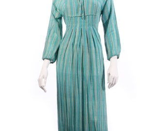 Blue and yellow striped vintage cotton maxi dress size XS