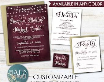 Wedding Invitations - Invitation Kit, red, wine, burgundy, marsala