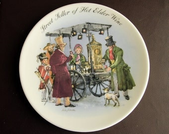 WEDGWOOD PLATE - Street Seller of Hot Elder Wine by John Finnie