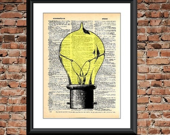 Steam Punk Dictionary Print - Vintage Edison Bulb printed on upcyled dictionary page- Dictionary Art Print, steam punk art