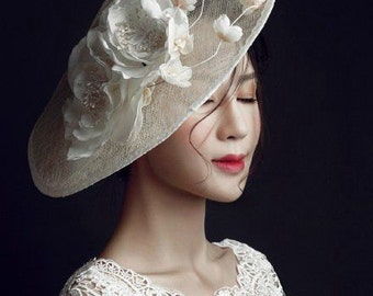 Homemade Wedding hat, Ivory Bridal hat, Organza flower
