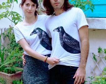 T-shirt woman and white man Fleck, black Raven engraving, silkscreen hand