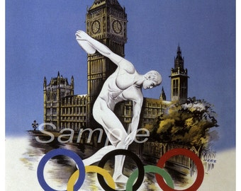 Vintage 1948 London Olympic Games Poster Print