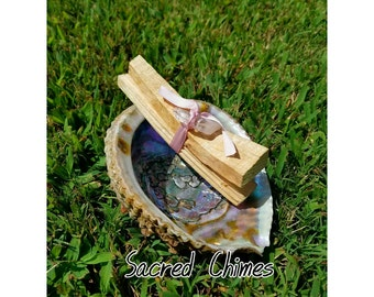 Extra Large Abalone Shell and Palo Santo Sticks Set! Sticks are wrapped and charged with Quartz Crystal, Incense Healing