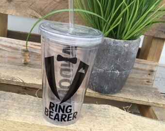 Personalized Ring Bearer Tumbler | Wedding Party Gifts | Tumblers with Straws | Block Font