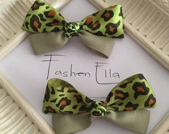 Set of 2.... Green Leopard Print hair bow