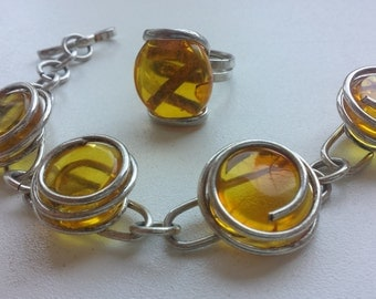 amber,Beautiful,vintage silver bracelet + ring,with 100% natural amber,handmade