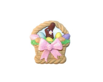 Handmade Easter Basket Chocolate Bunny Rabbit Polymer Clay Pendant Magnet Bead Figure