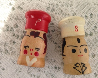 Mid Century Wooden Hand Painted Salt and Pepper Shakers