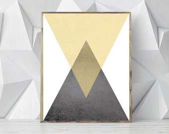 Printable Geometric Art, Yellow Grey Art, Triangle Scandinavian Print, Nordic Poster, Minimal Print, Modern Print, INSTANT DOWNLOAD
