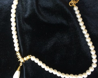 Faux teadrop pearl and diamond necklace