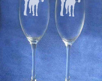 Western cowboy cowgirl horse country wedding glasses