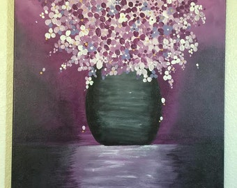 Floral Purple Vase Original Acrylic Painting