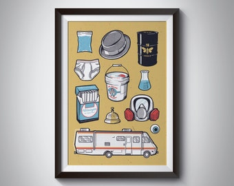 BREAKING BAD Illustrated Limited Edition Print / Poster. Walter White AMC Jesse Pinkman