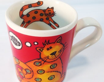 Arthur Wood Mug - Made in England - Whymsical Cat Scene